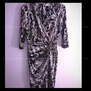 Calvin Klein Animal Print Faux Wrap Dress Medium
